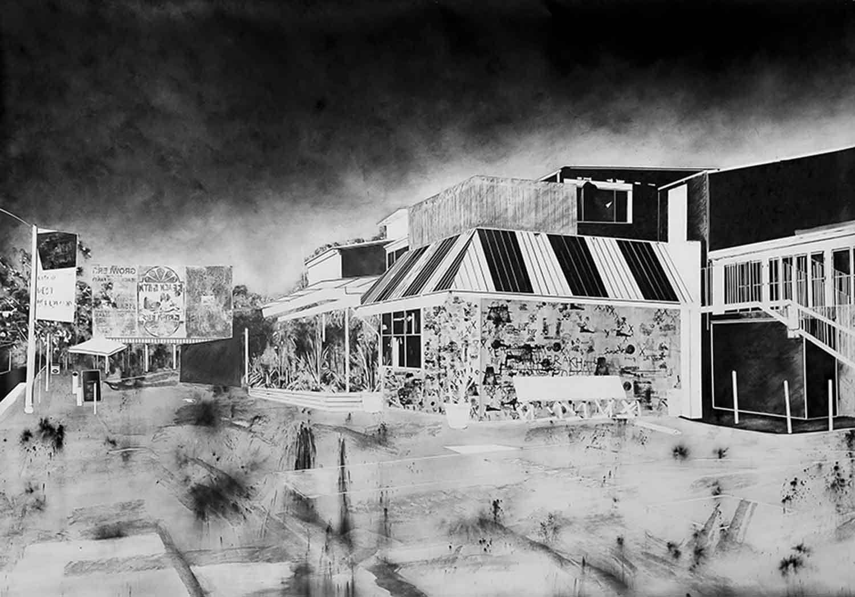 Sunset Bar, 2015 fusain 190 x 290 cm
