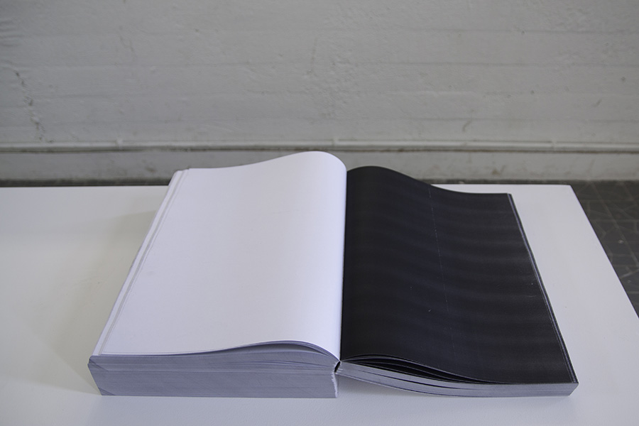 <em>Femto-copies</em>, 2015 <br>photocopie noir et blanc sur papier 80 g. <br> 41 x 28,7 x 10,5 cm