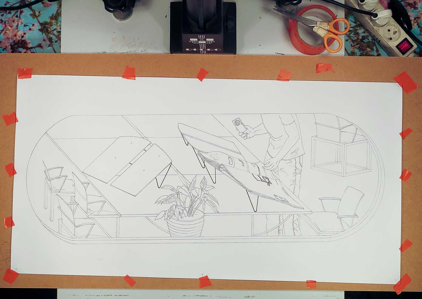 <em>Bibliothèque</em> <br>vrayon sur papier <br>30 x 60 cm