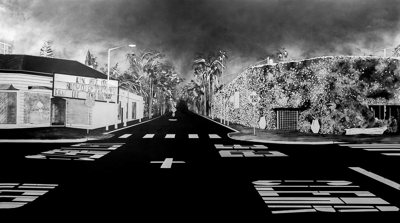 <em>Hollywood Dead End</em>, 2015 <br>fusain <br>340 x 190 cm