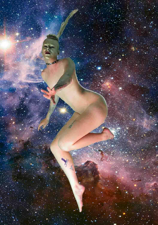 <em>350 dpi d'apparition cosmique</em>,  2015 <br>poster <br>50 x 70 cm