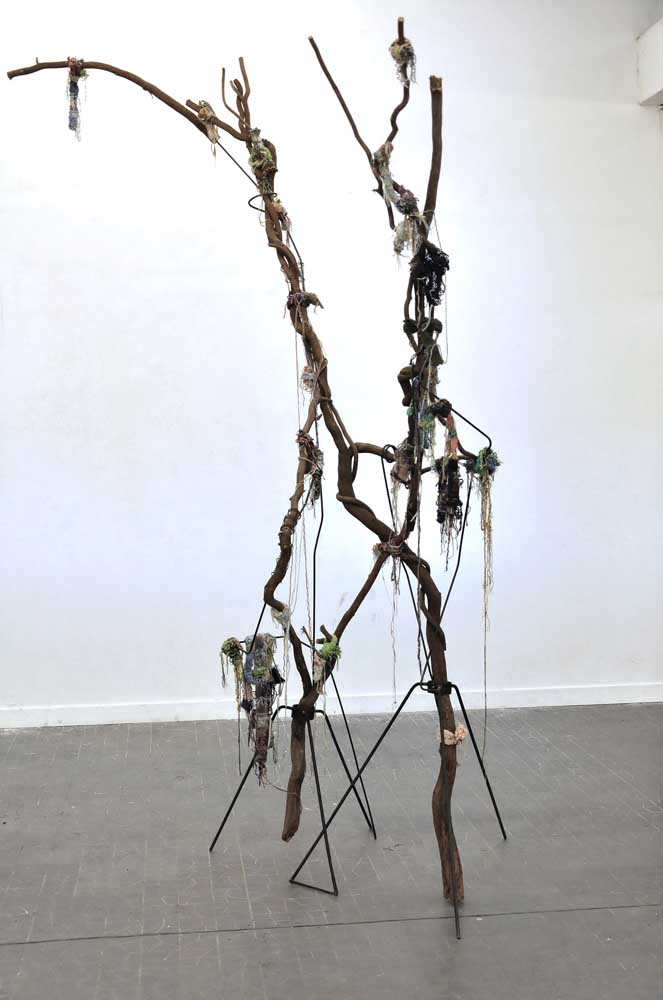 <em>Shamanic Attempt to Communicate with a Dead Neighbour</em>, 2015 <br>glycine rongé par les vers, morceaux de tricot d'une voisine décédée, métal