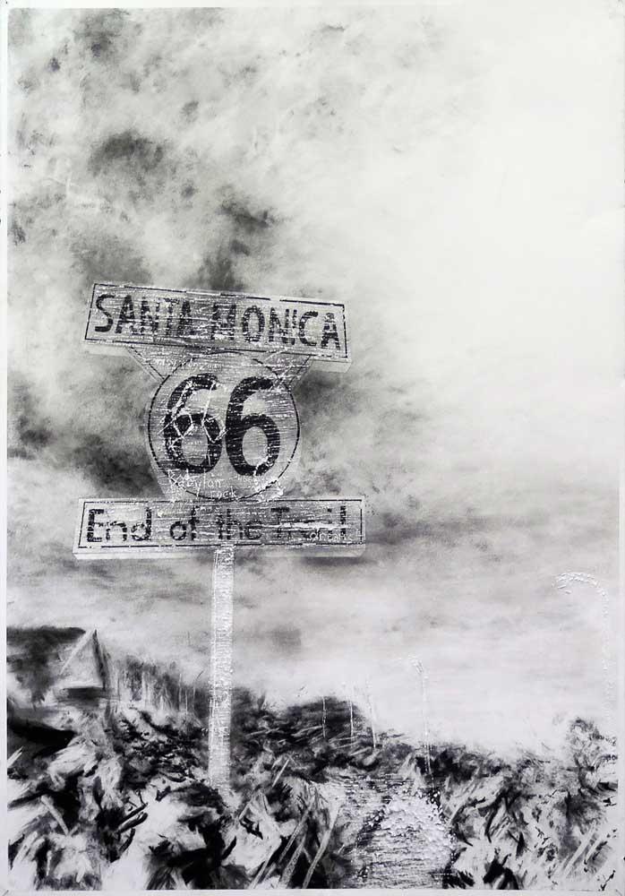 <em>Santa Monica 66</em>, 2014 <br>fusain <br>70 x 100 cm