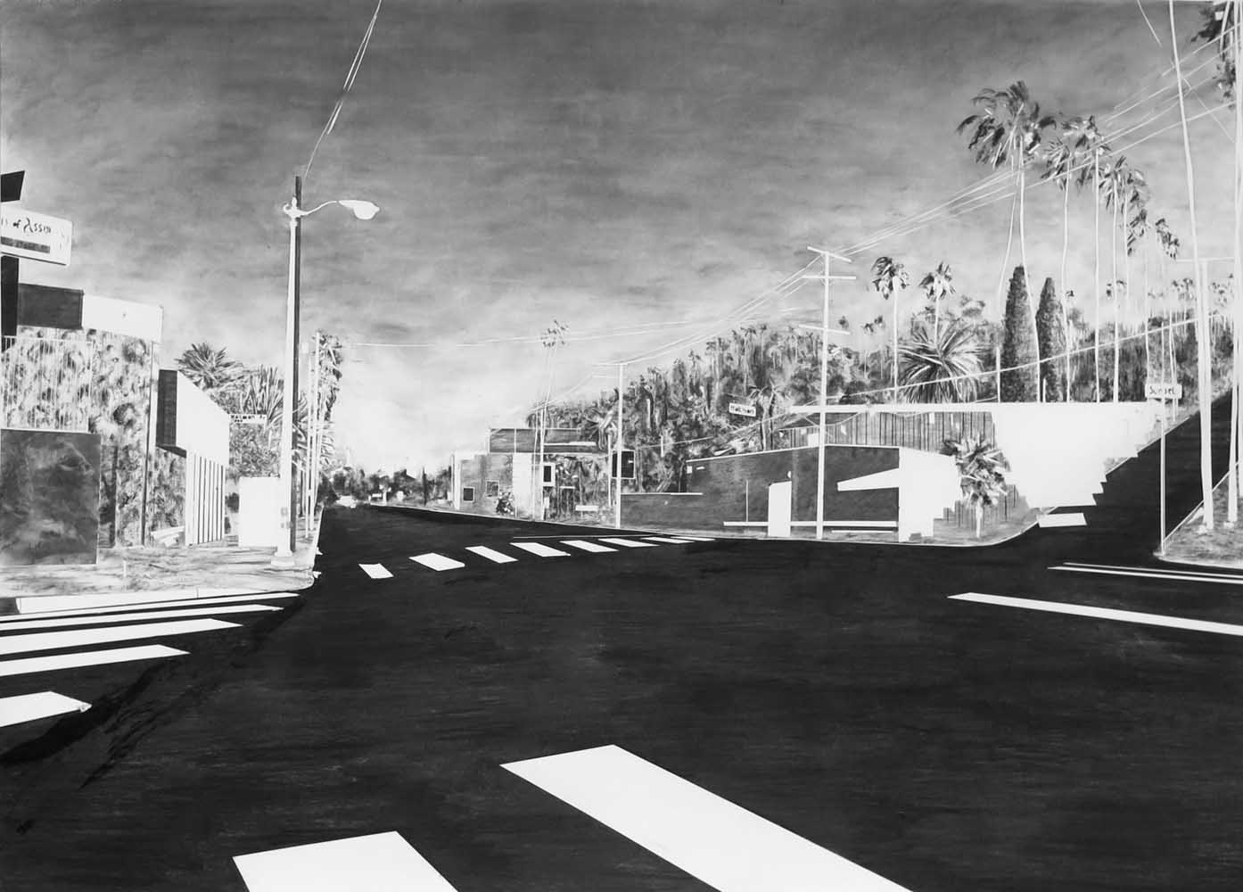 <em>Sunset Bvd / Maltman Ave</em>, 2014 <br>fusain <br>280 x 190 cm