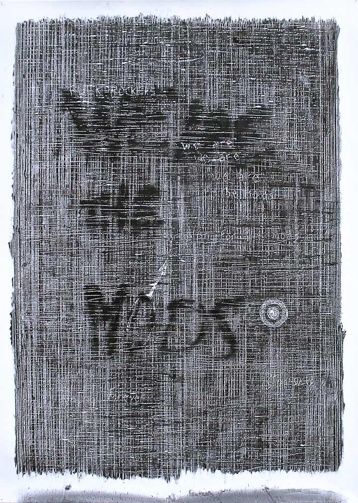 <em>We Are The Mods</em>, 2014 <br>fusain <br>2010 x 150 cm