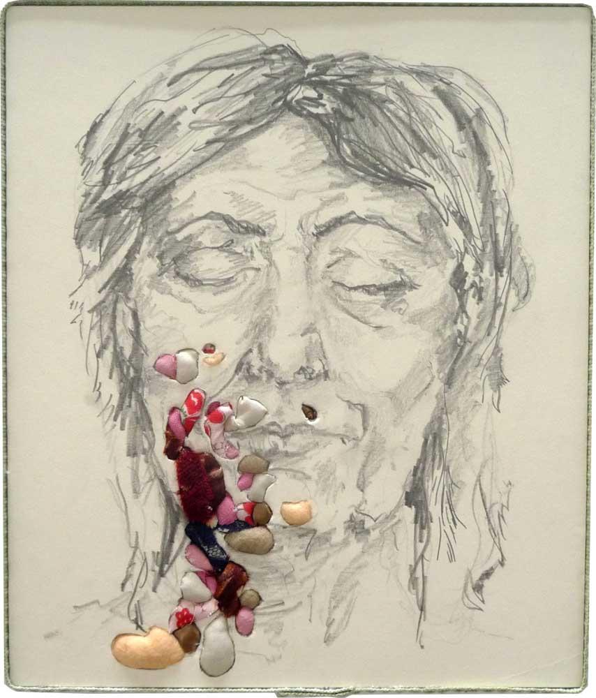 <em>Contaminés</em>, 2011 <br>dessin à la mine de plomb, technique de cartonnage <br>30 x 35 x 1 cm