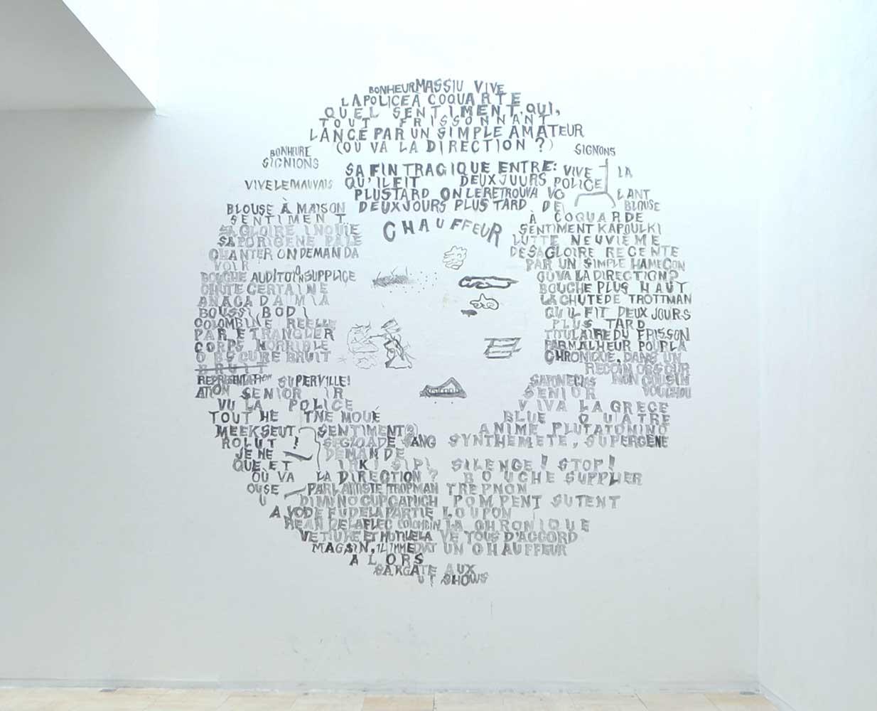 <em>Bonheur Massiu</em>, 2014 <br>dessin mural <br>vue d'accrochage