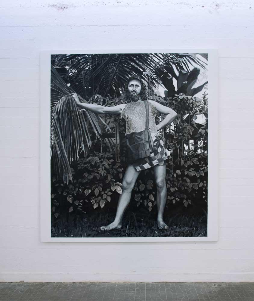 <em>Ernest Darling que l'on appelle l'homme de la nature, personnage exalté quoique malheureux n°2</em>, 2015 <br>acrylique sur toile <br>65 x 54 cm