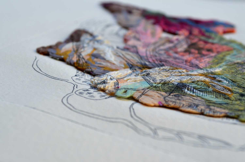<em>Greffons</em>, 2013 <br>42 X 33 cm <br>gravure en eau forte, broderie, papier Velin d'Arches.