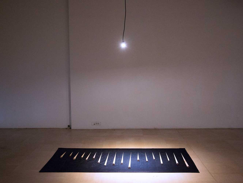 <em>La Panoplie du fakir</em>, 2013 <br>velours et bois <br>120 x 300 cm