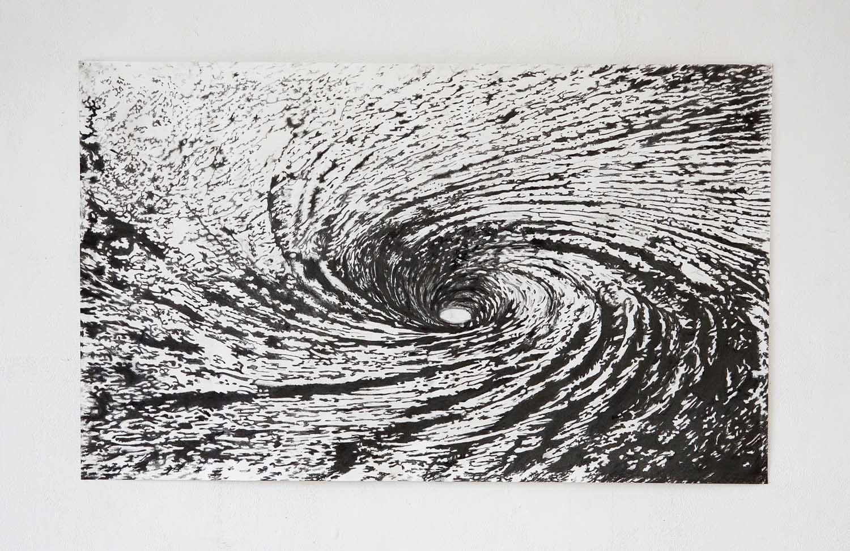 <em>Maeltröm</em>, 2013 <br>Mine graphite sur papier <br>70 x 150 cm