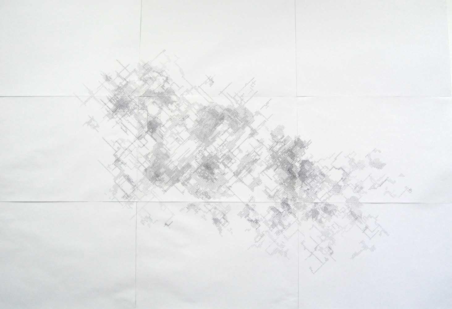 <em>Cartographie de l'ennui</em>, 2011<br>stylo à bille sur papier imprimé <br>2,10 x 3 m