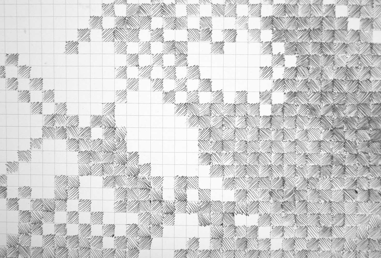 <em>Cartographie de l'ennui</em>, 2011<br>stylo à bille sur papier imprimé <br>2,10 x 3 m <br>détail