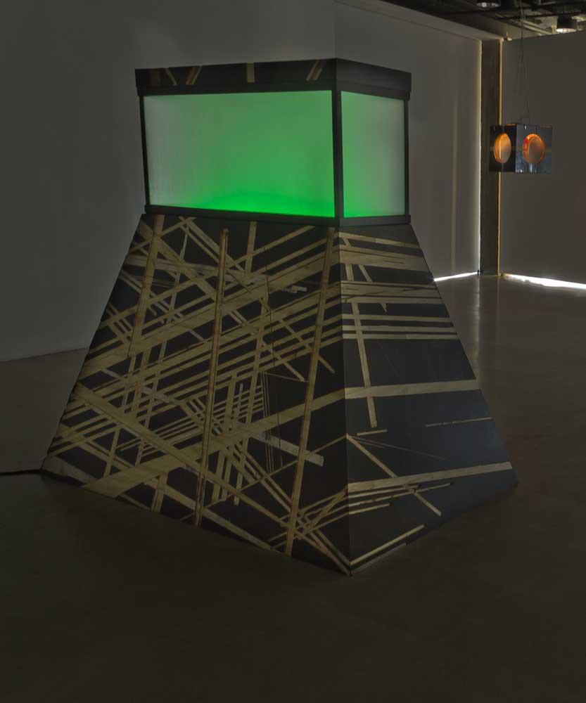 Sans titre , 2014-15 <br>aquarium, bois peint et gravé, système lumineux, machine à fumée <br>env. 220 x 160 x 200 cm