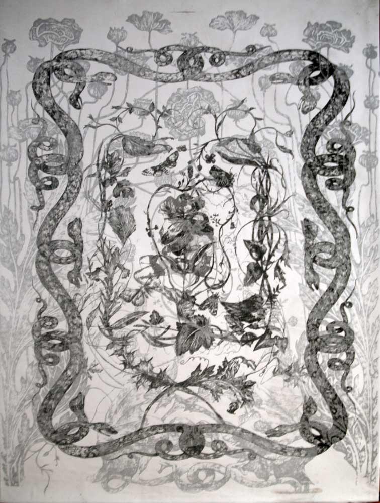 Sans titre, 2014<br>lithographie sur tissu<br>70 x 50 cm